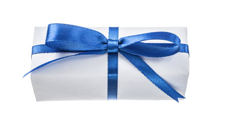 White gift box with blue bow isolated on white. Stock Photo