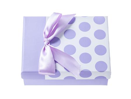 Purple gift box isolated on white. Stock Photo