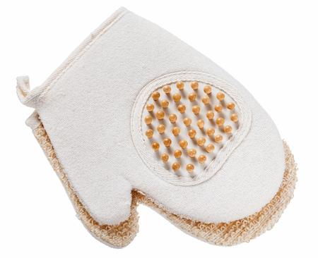 Glove massager washcloth isolated on white.