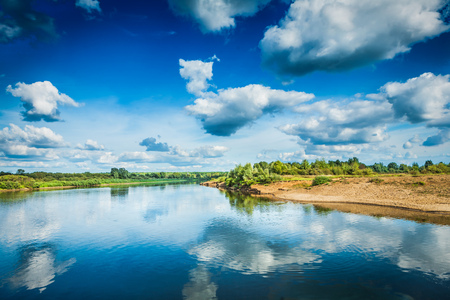 beautiful view on river at sunny day. Stock Photo