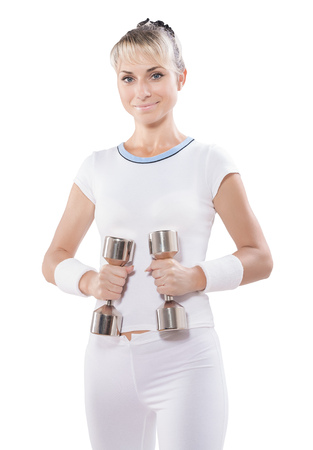 fitness woman holding dumbbells isolated.