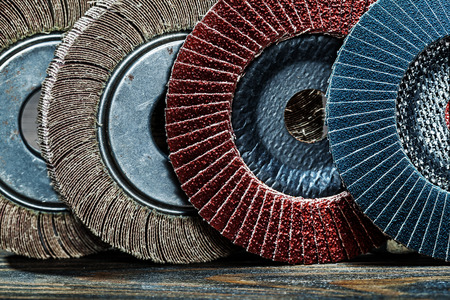 very close up view abrasive polishing discs set