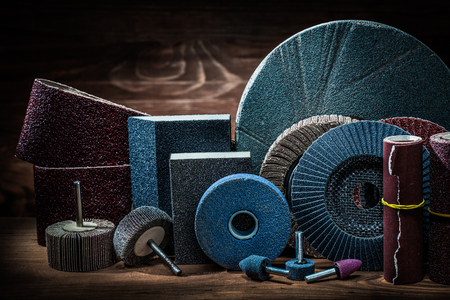 abrasives on vintage wood background Banco de Imagens