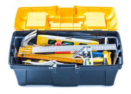 opened toolbox with tools isolated on white 스톡 콘텐츠