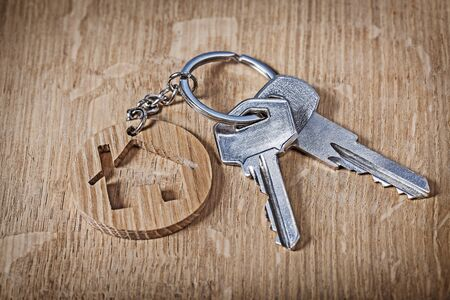 trinket house and keys on wood background Banco de Imagens - 124977372