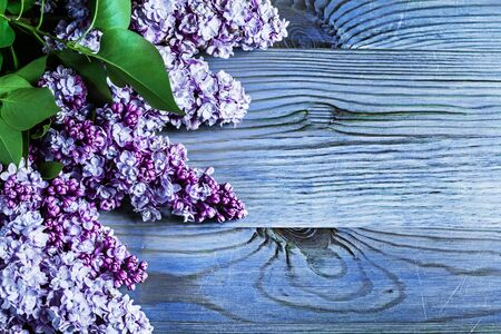 lilac flowers on vintage colored wood boads
