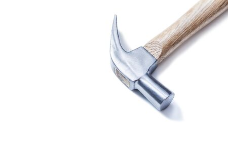 claw hammer on yellow  leather gloves isolated Stock Photo