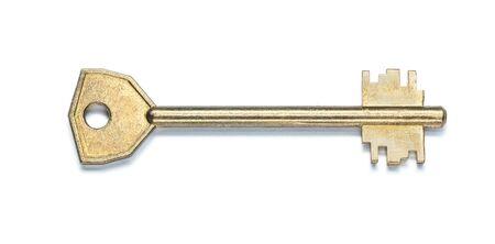 Una llave de la puerta de la casa aislada en blanco Foto de archivo