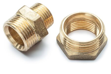 plumbing tools brass pipe connector isolated Archivio Fotografico - 129228004