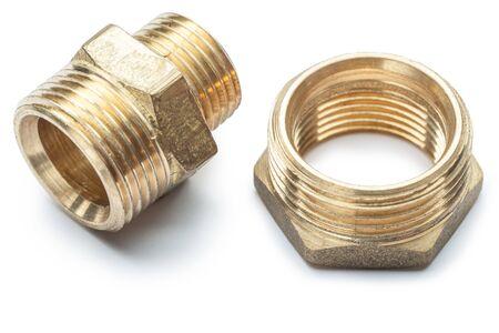 plumbing tools brass pipe connector isolated 版權商用圖片