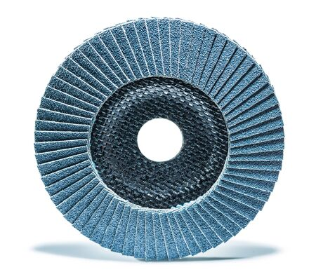 abrasive treatment tool blue sanding flap disc isolated