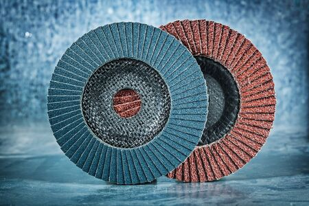 abrasive flap discs on metalic background Stock Photo