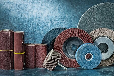 big set of abrasive tools on metalic background Stock Photo