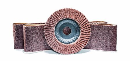 tools for abrasive treatment wood flap sanding disc and sandpaper belts isolated