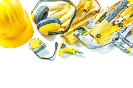 big set of yellow construction tools isolated on white background