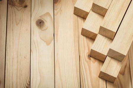 wooden boards little square timber planks in little stack copy space view
