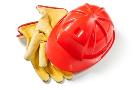 construction gloves and red helmet isolated