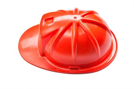 an red helmet construction tool isolated on white background Stok Fotoğraf