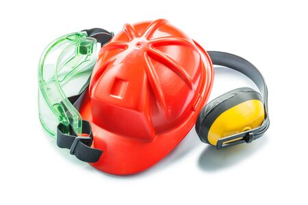 red helmet yellow earphones and green goggles isolated on white