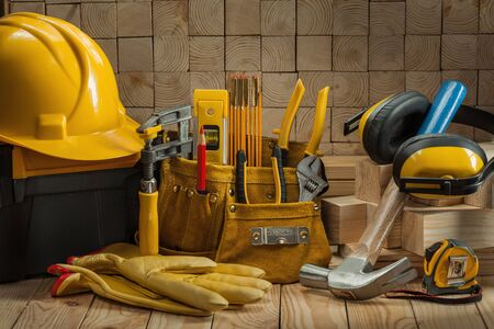 big set of construction carpentry tools on wooden background Stok Fotoğraf