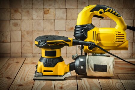 construction woodworking tools on sawmil wood background Stok Fotoğraf