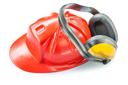 construction   tools red plastic helmet and yellow earphones isolated on white  background
