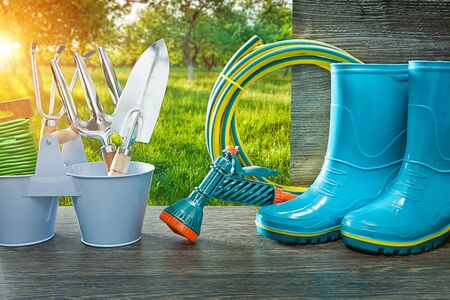 gardening tools blue rubber rain boots hose sprayer gun spade and fork on vintage table in spring sunny garden at sunrise