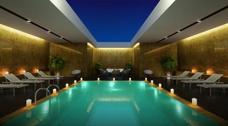 渲染酒店pisine的天空休息室景房 版權商用圖片