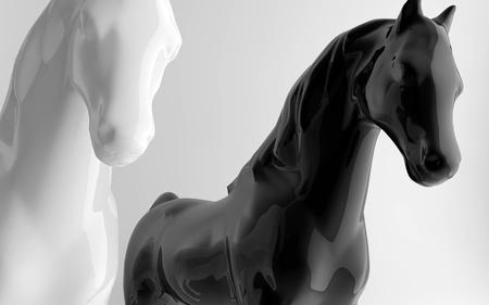 white and black glossy horses