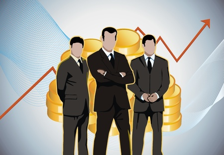 business meeting: Business men economic charts gold money Stock Photo
