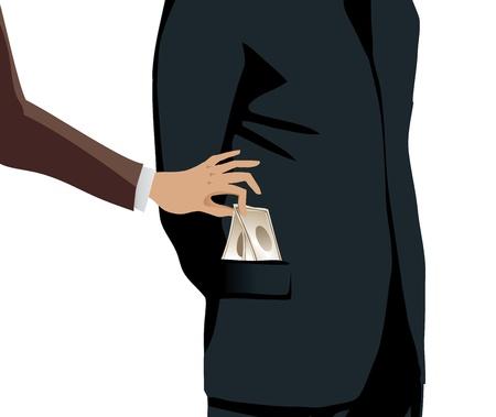 A thief steals money from a businessman photo