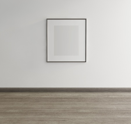 Minimal, stylish interior Wall with decorative frame and  wood floor