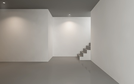 house render: Empty gallery room , minimal architecture white walls and stair