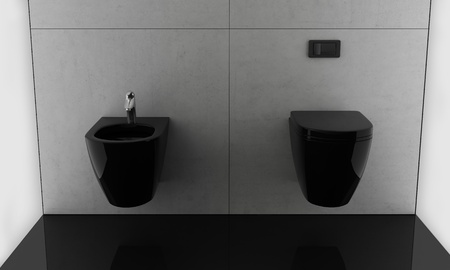chic minimal modern black bathroom Stock Photo - 12610709