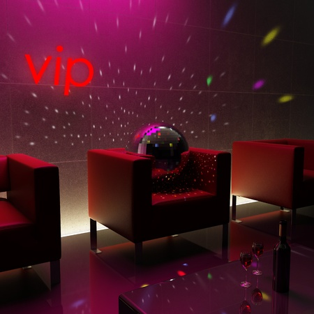Atmospheric Disco club with red couches photo