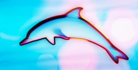 Colorful psychedelic  dolphin jumping