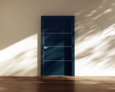 blue door, wall, tree shadows Stock Photo