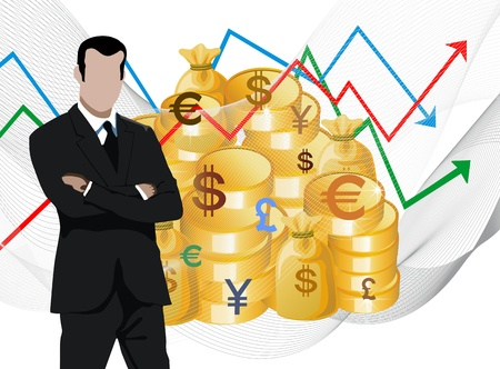 Businessman in front of economic charts gold coins, universal money
