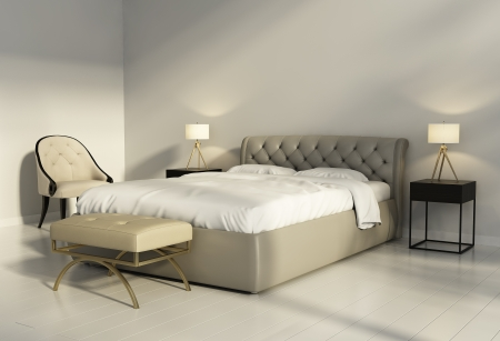 tufted: Chic tufted leather bed in contemporary chic bedroom