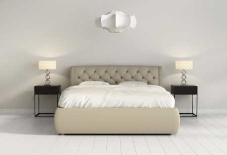 別緻的簇絨皮床在現代時尚的臥室前