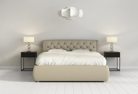 chambre à coucher: Chic lit de cuir capitonné en face de la chambre à coucher contemporain chic Banque d'images