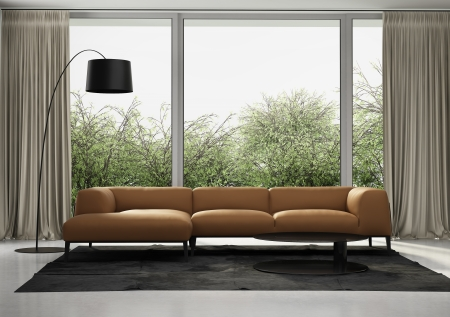 Contemporary orange leather sofa, living room interior