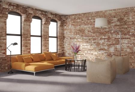 現代的なスタイリッシュなロフト、レンガの壁、オレンジ ソファのインテリア