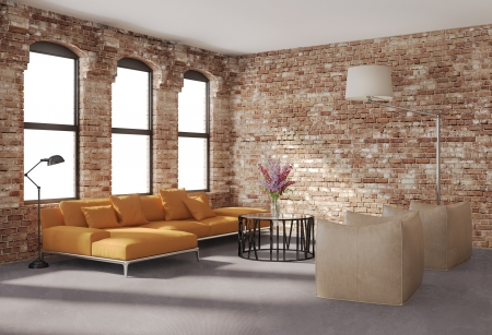 condominium: Contemporary stylish loft interior, brick walls, orange sofa Stock Photo