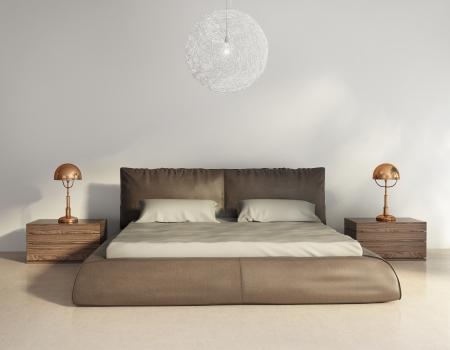 chambre à coucher: Sombre lit en cuir brun à l'intérieur contemporain chic, vue de face