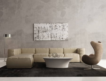 Eigentijdse grijze woonkamer interieur Stockfoto