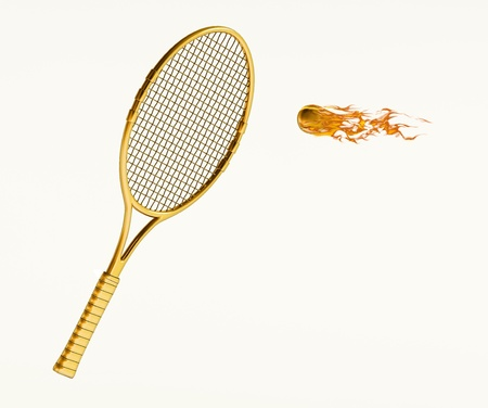 Isolated tennis racket with flaming ball