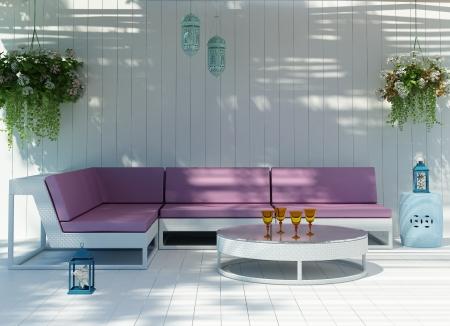 白鮮海濱別墅與室外的沙發希臘島嶼 版權商用圖片