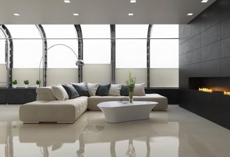 gas fireplace: Contemporary stylish loft interior, with modern fireplace