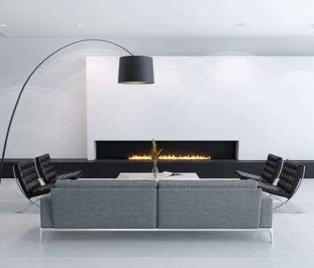 gas fireplace: Minimal contemporary gas fireplace interior, living room